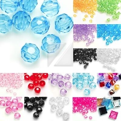 Acrylic Transparent Bicone Beads Faceted Jewellery Making 4/8/10/12mm