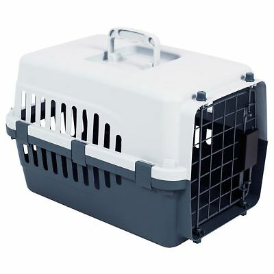Pet Carrier Cage Dog Cat Kitten Puppy Travel Vet Transport Portable White Grey
