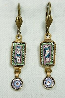 Vintage Micro Mosaic Earrings, Brass, Italy, Grand Tour