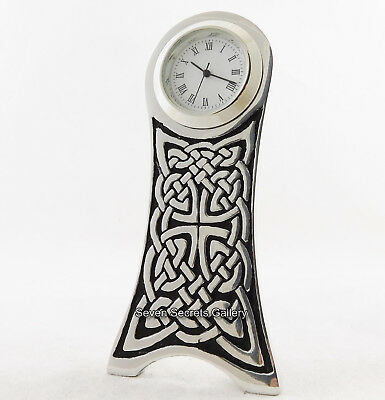 English Pewter Clock Gothic Celtic Knot Design Hand Made In England 4135 New In