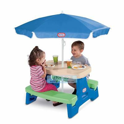 Little Tikes 2 Easy Store Jr Picnic Table Umbrella Kids Outdoor Activity Fun Toy
