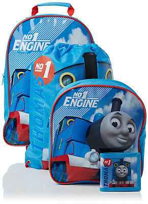 Thomas & Friends 4pc Kids Luggage Set Wheeled Bag Backpack Wallet Trainer Bag