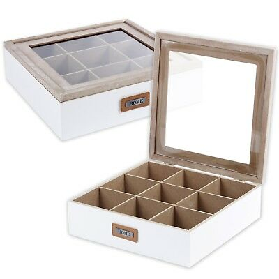 White Shabby Chic 9 Section Wooden Tea Box Clear Lid Multi Storage Compartments