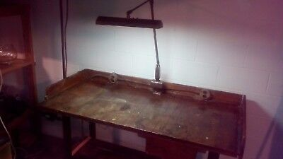 "Vintage 60"" Industrial  Work Bench Table Desk Bar Island Antique/LIGHT WORKS"
