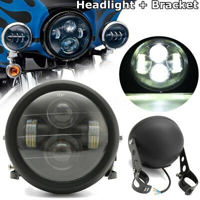 "6.5"" Black LED Motorcycle Projector Daymaker Headlight with Bracket Cafe Racer"
