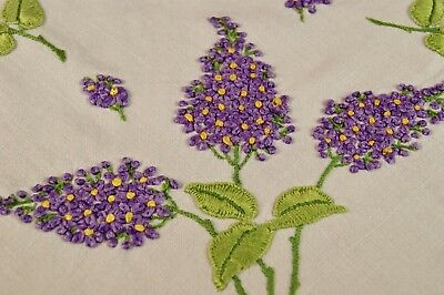 Vintage Irish Linen Tablecloth Embroidered Lilac Flowers #t91