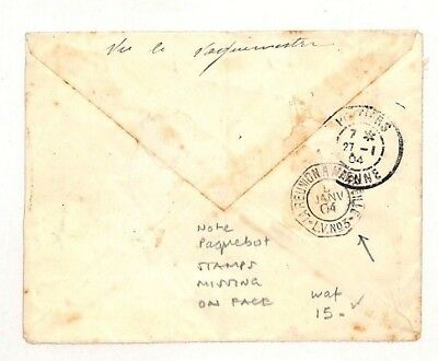 AH69 1904 Madagascar Diego Suarez Paquebot Stamps Missing on Face Cover PTS