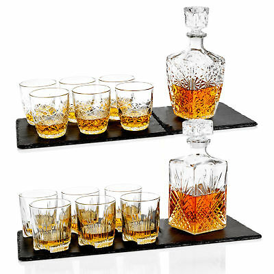 Bormioli Rocco Whiskey Decanter & 6 Glasses Tumblers Wedding Xmas Gift Boxed Set