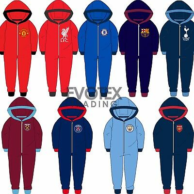 Childrens Boys Official Football Club Fleece Hooded All In One Age 3-12 Years