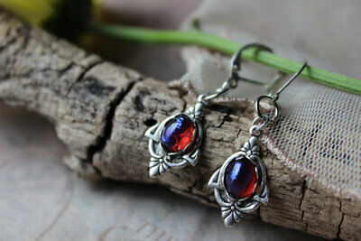 Fire Opal Earrings Laced Victorian Settings Enchanted Forest Lever Back Hooks