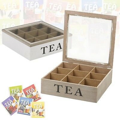 9 Compartments Wooden Tea Box Hinged Glass Lid Tea Bag Storage Box Home Kitchen