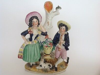 Antique Staffordshire Figure of a Couple with a Basket  and a Dog