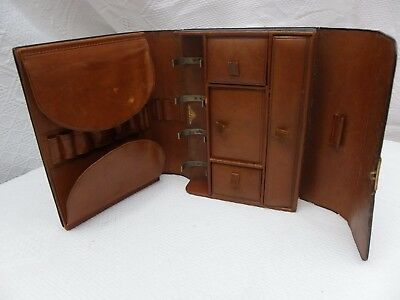 Unusual Antique Travelling Jewelry Vanity Grooming Case. Boxed Compartments.