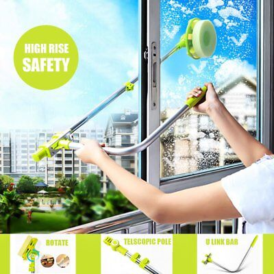 Telescopic High-rise U-type Glass Cleaning Cleaner Windows Dust Brush Safe Lot P