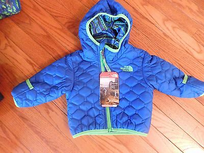 Nwt The North Face Infant Perrito Reversible Hooded Jacket 3-6M Blue/green