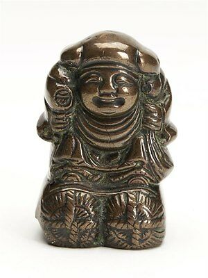 Unusual Antique Oriental Chinese Bronze Figural Bell 19Th C