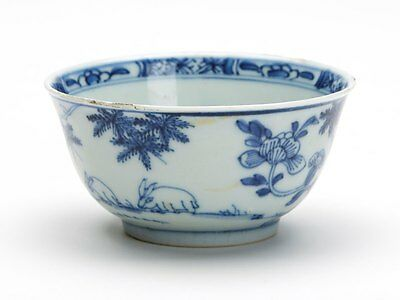 Antique Chinese Qing Grazing Rabbits Blue & White Bowl 18 C