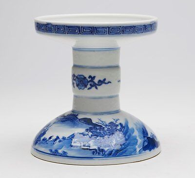 Chinese Blue & White Altar Candlestick 19Th C.