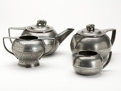 ARTS & CRAFTS ENGLISH PEWTER TEASET WITH ELEPHANTS c.1900
