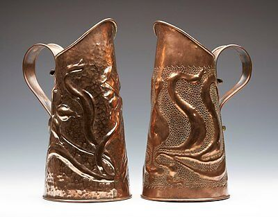 Two Arts & Crafts Copper Jugs Att To Keswick C.1900