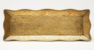 ARTS & CRAFTS ENGRAVED BRASS DESK PEN TRAY c.1890