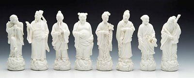 Vintage Chinese Set Eight Blanc De Chine Daoist Immortal Figures 20Th C.