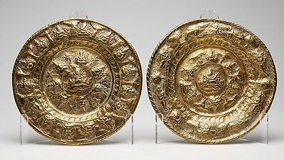 Antique Pair Indian Moulded Brass Hindu God Plaques 19Th C.