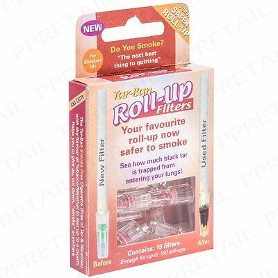 9 Packs Of 15 TAR BAN ROLL UP FILTERS Less Nicotine SAFER SMOKING Reusable Tips