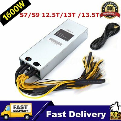 1600W Mining Machine Power Supply PSU For Bitcoin Miner S9 S7 12.5T 13T 13.5T UK