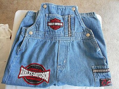 Harley Davidson Overalls ~Patches Cargo Pocket Childrens Girls Toddler size 3T
