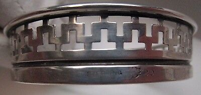 Vintage Deco Cut Glass Coasters Sterling Silver Greek Key