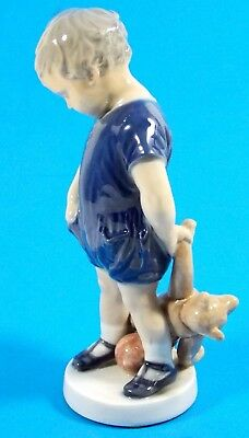 Royal Copenhagen Denmark Boy With Teddy Bear #3468 Figurine Aritist Signed