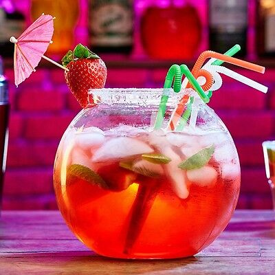 LARGE 2.5L COCKTAIL FISH BOWL Plastic Fishbowl Drinking Punch Globe Party Mixer