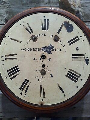 1825 London & gloucester school board fusee dial wall clock for spares repair