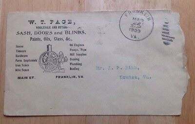 1909 W. T. Pace Hardware Store Envelope, Hit And Miss Engine, Franklin, Va