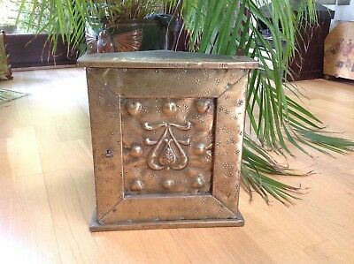 c1890 Antique ARTS & CRAFTS Corner Cabinet OAK & Brass HEARTS Decoration VOYSEY