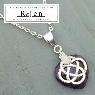 Amethyst Heart & Rainbow Moonstone 4 Element Celtic Knot Pendant Chakra Wicca