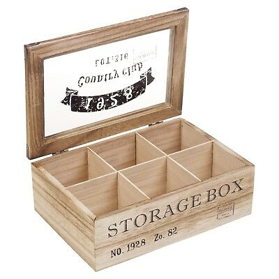 Wooden Tea Box 6 Section Compartments Glass Lid Multi Storage Spice Chest