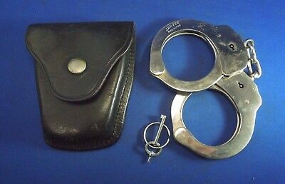 Vintage Jay Pee Handcuffs Made in Spain W/ Leather Pouch & Key