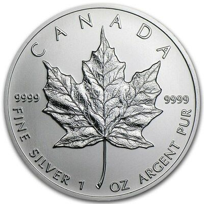 $5 Silver Canadian Maple Leaf 1 oz Random Year .9999 Fine Silver Maple Leaf