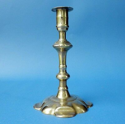 RARE Twist-stem ejector BRASS CANDLESTICK signed GEORGE GROVE, BIRMINGHAM, 1750