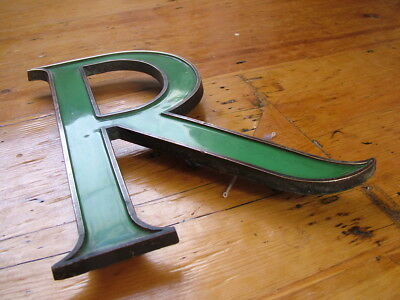 EARLY 20TH CENTURY BRASS & ENAMEL SHOP SIGN LETTER R with FIXING BOLTS EXCELLENT