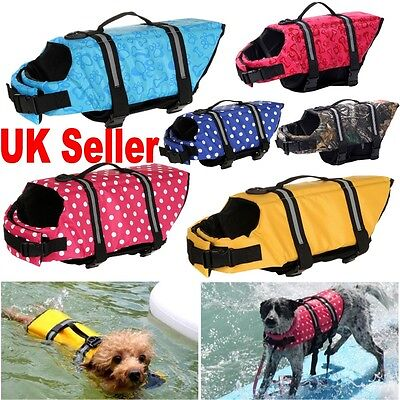 UK Dog Buoyancy Aid Pet Life Jacket Swimming Boating Adjustable Safety Vest Suit