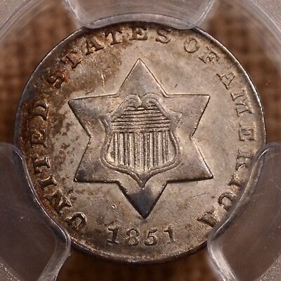 1851 3-cent Silver, PCGS MS62, lovely, antique toning   DavidKahnRareCoins