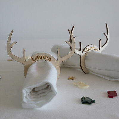 Christmas Xmas personalised napkin ring. Reindeer antler wooden name places L223
