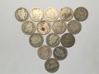 15 - DIFFERENT BARBER SILVER QUARTERS = (1897-1916)...with low combined shipping