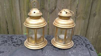 Vintage Pair Of Brass & Glass Hanging Or Table Top Tealight Candle Holders