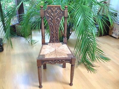 c1880 Beautiful ARTS & CRAFTS Children's Chair Carved OAK & Straw Seat RUSTIC