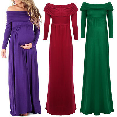 Pregnant Women Long Sleeve Off Shoulder Dress Maternity Photography Maxi Gown