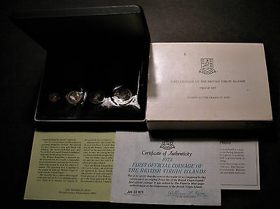 1973 British Virgin Islands 6-Coin Proof Set w w/.925 Silver Dollar Coin in Case